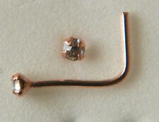 STERLING SILVER  C/Z NOSE STUD ROSE GOLD PLATED 1.5MM L SHAPE 38