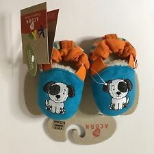 Acorn Easy-on Moc Teal Puppy Print Infant Shoes Sz 6-12 Months