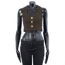 BALMAIN 595$ Khaki Cropped Button-Embellished Ribbed Stretch-Knit Top