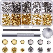 120 Single Cap Rivets Set Tubular Studs Fixing Tool Kit For Leather Silver/ Gold