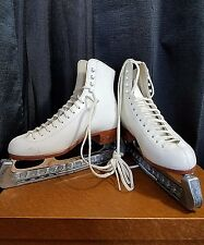 Riedell Ice Skate Boots 220W Size 6 John Wilson Excel Blades Blade Covers