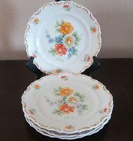Schumann-Bavaria Dresden Flowers Scalloped Rim Salad Plates 4 FloralBasket Weave