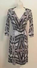 Diane von Furstenberg New Julian two Diamond Maze wrap dress 6 black white gray