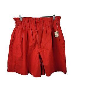 Vintage Venezia High-Waist Shorts 22 Red Cotton Pockets Elastic Made In USA NWT!