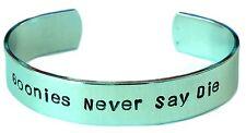 New Goonies Never Say Die Hand Stamped Aluminum Bracelet