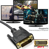 DVI-D 24+1 pin Dual Link Cable DVI Male to Male Gold Plated 6ft 10ft 15ft 25ft
