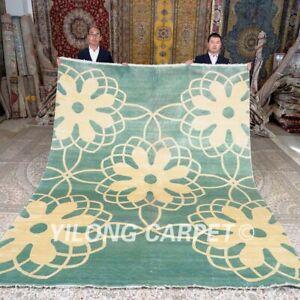 Yilong 8'x10' Kid Friendly Hand Knotted Silk Carpet Blue Handmade Area Rug 434B