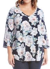 NEW Karen Kane Plus Floral Flare Sleeves Liquid Knit Blouse Top Shirt 2X $108