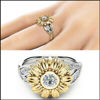 US Women's Sunflower Silver Ring Plated Zircon Promise Wedding Jewelry Gifts
