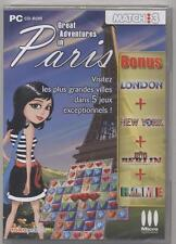 NEUF JEU PC MATCH 3 / 5 JEUX : GREAT ADVENTURES IN PARIS LONDON NEW YORK BERLIN