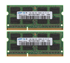 For Samsung 8GB 2X 4GB DDR3 1066MHz PC3-8500S SO-DIMM Laptop Intel Memory RAM
