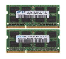 Samsung 8GB 2X 4GB DDR3 1066MHz PC3-8500S 204Pin SODIMM Intel Laptop Memory RAM