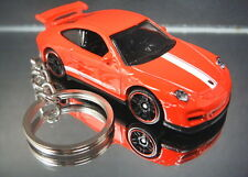 Porsche 911 GT3 RS Key Chain Ring Red Diecast 3D Fob