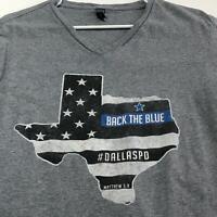 Dallas Police Back the Blue Adult Graphic T Shirt Medium M V Neck Short Sleeve