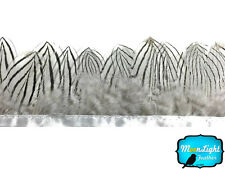 1 Yard - NATURAL WHITE Silver Pheasant Plumage Feather Trim Costume Halloween