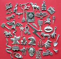 Swimming Charm Collection Antique Silver Tone 7 Different Charms COL259