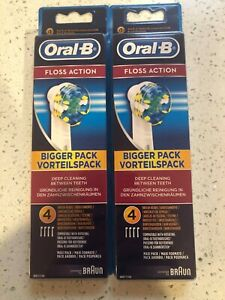 8 BRAUN ORAL B FLOSS ACTION TOOTHBRUSH REPLACEMENT BRUSH HEADS
