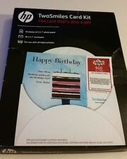 NEW Unopened Hp TwoSmiles Card Kit 5x7,10 count inkjet make greeting + gift card