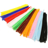 100 Chenille Pipe Cleaners Craft Stems Assorted Colours Kids Crafts 150mm x 4mm