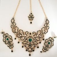 Indian Bollywood Green Gold Crystal Jewellery set Necklace, Earring and Tikka