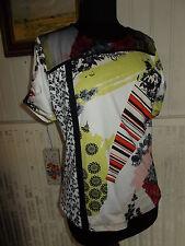 Tee shirt top polyamide stretch imprimé UN JOUR AILLEURS T.2 40/42