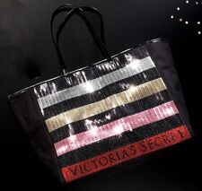 VICTORIA'S SECRET BLACK SEQUIN STRIPE WEEKENDER BAG GETAWAY CARRY ON LARGE TOTE