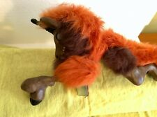 "Woodbaby Cabled Orange and Brown Unicorn, Sits on Shoulder With Magnet. 11"" Long"
