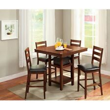Dining Table Set Wood Pub Height Dining Chairs 5 Piece Kitchen Brown Eating New
