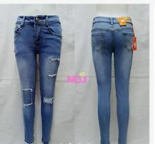 SKINNY JEANS SQUARE TATTERED JEANS (BLUE) SIZE 25