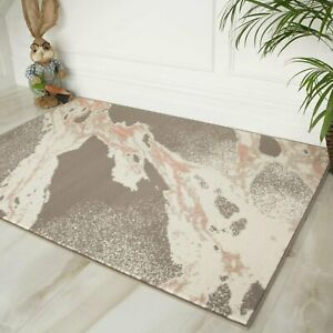 Contemporary Marble Splash Quality Soft Blush Pink Grey Affordable Lounge Rugs