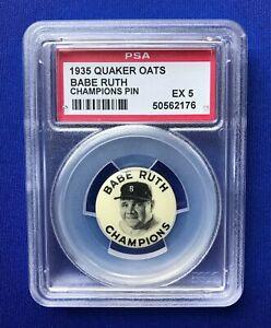 1935 BABE RUTH BASEBALL CHAMPIONS **PSA 5 EX!** QUAKER OATS BOSTON BRAVES
