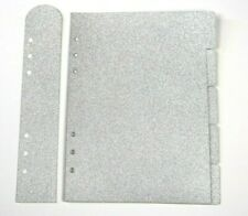 A5 Filofax Planner Dividers Kikki K x 5 & Page Marker SILVER Glitter Organiser