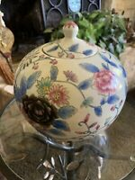 """Vintage Antique Chinese Ginger Jar w/Lid 9.5"""" Tall 10"""" Wide Tea Keeper"""