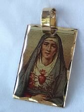 DIAMOND CUT Laser Image  Our Lady of Sorrows Gold gp Plated Pendant