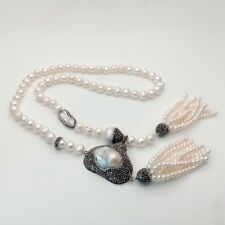 36'' Big White Keshi Pearl Pendant White freshwater Pearl Necklace
