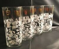 4 MCM  Vintage Retro 60s 16 oz Tumblers Floral Design with Greek Key Border