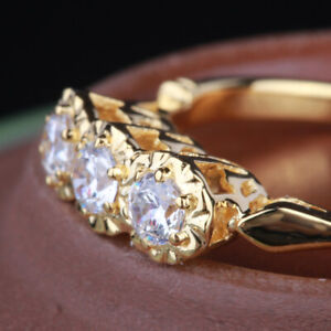 Sale Soild 14K Yellow Gold Pave Flawless Cubic Zirconia 3 Stones Engagement Ring