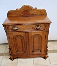 Antique Solid oak Dutch two Door Carved Chest Cabinet with top drawer