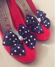 Ladies Sailor Fancy Dress Navy White Polkadot Bow Shoe Clips Pinup Rockabilly