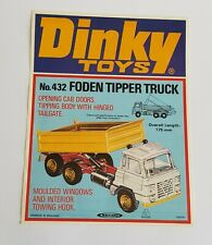 Rare 1970's Dinky Toys No. 432, Foden Tipper Truck, - Shop Sign - Mint Condition