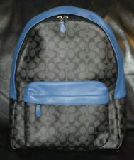 Men's-Unisex-Coach-Charles-Signature-F55398-Blue-Leather-Canvas-Backpack-Bag-New