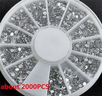 2000PCS/Wheel 1.5mm 3D Rhinestones Glitter Diamond Tips Nail Art Decoration