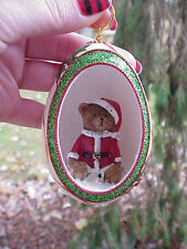 REAL Hand Decorated Carved Goose Egg Christmas Tree Ornament Gift Santa Bear #3