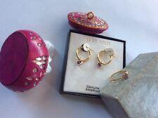 Solid 10k 14k 10kt 14kt Gold Amethyst diamond ring and hoop earrings set