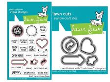 Lawn Fawn Photopolymer Clear Stamp & Die Combo PUSH HERE Interactive  ~1415,1416