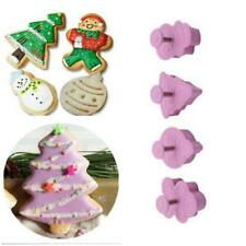 4x XMAS Theme Cookie Biscuit Mould Fondant Cupcake Decorate Plunger Cutter Mold