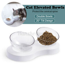 20° Tilt Double Food Bowl Stand Cat Dog Water Bowls Pet Puppy Feeding Feeder Set