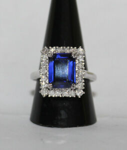 CHRISTMAS 1.26ct NATURAL DIAMOND SAPPHIRE 14K SOLID WHITE GOLD RING