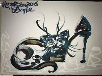 ORIGINAL katze MALEREI PAINTING zeichnung cat contemporary ART NAIV BILD A4 om 3
