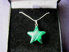 Stunning Malachite Star Necklace -On Solid Silver Chain -SIMPLE BUT STUNNING!